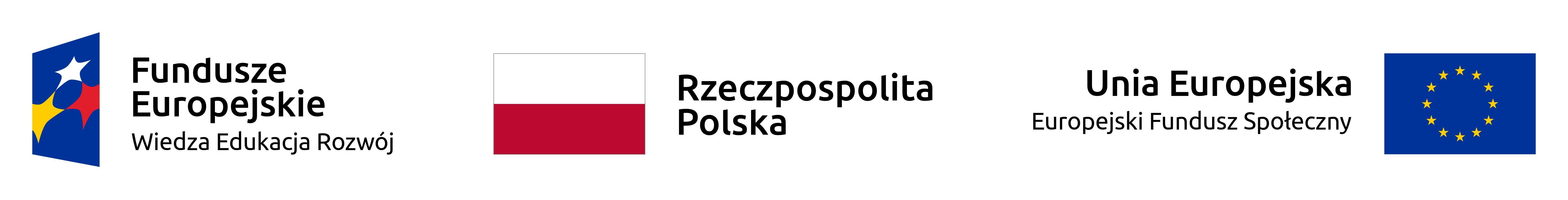 Logotyp Funduszy Europejskich, Logotyp Rzeczpospolita Polska, Logotyp Europejskich Funduszy Społecznych